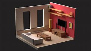 Low, Poly, Living, Room, Model, Low