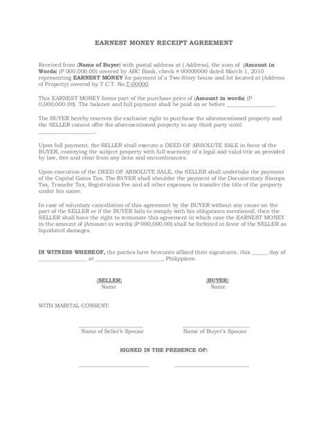 earnest money receipt agreement
