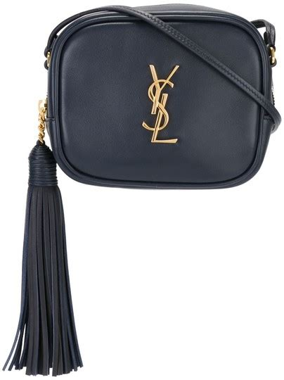 saint laurent  dark navy blue leather monogram blogger
