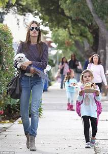 Alessandra Ambrosio picks up daughter Anja up from school