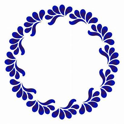 Azul Ornamental Frame Round Moldura Premium Marco