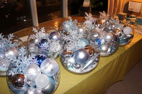 Winter Wedding Centerpieces Bowls Of Ornaments Topped