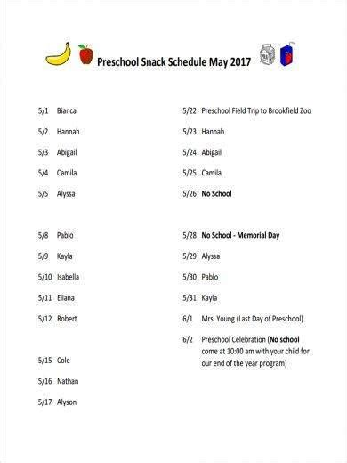 11 snack schedule samples amp templates pdf sample 607 | Snack Schedule Sample for Preschool