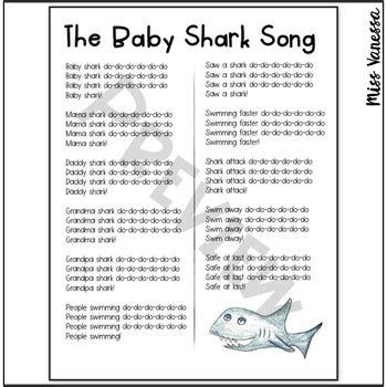 baby shark song printable lyrics   movement