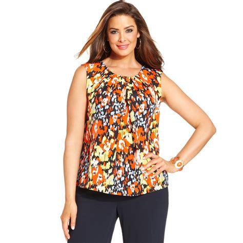 new yorker tops lyst jones new york collection plus size sleeveless