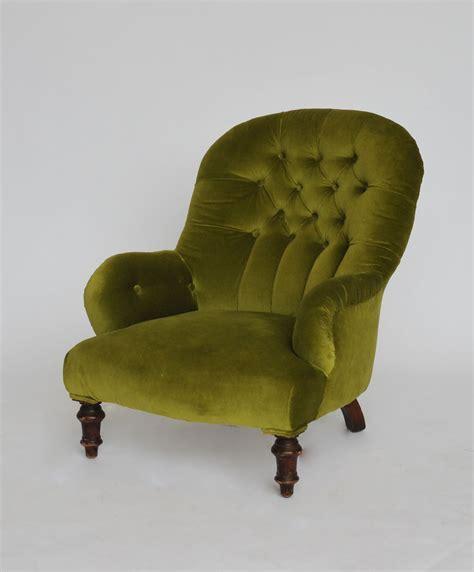 Victorian moss green velvet armchair   Hire & Rental