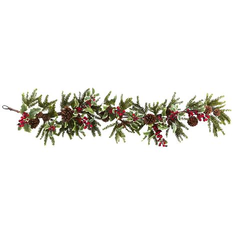 54 inch artificial holly berry garland 4942