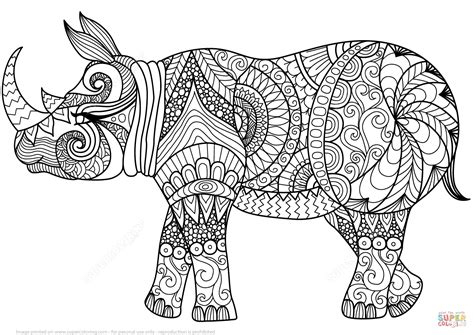 Coloring Zentangle by Zentangle Rhino Coloring Page Free Printable Coloring Pages