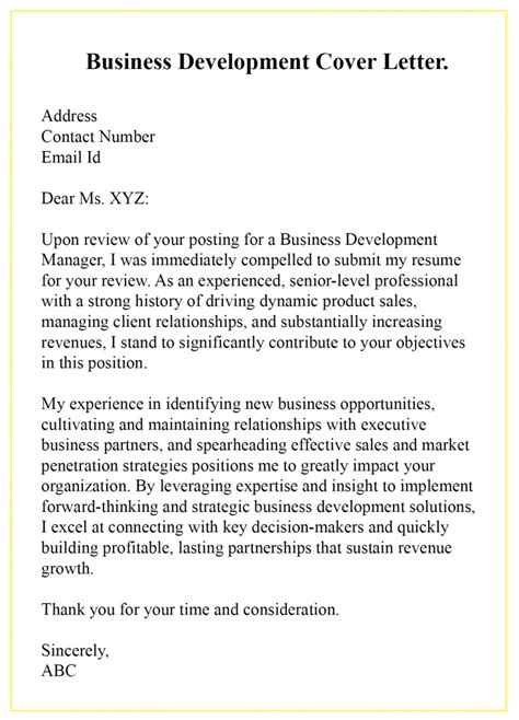 sample business development cover letter templates