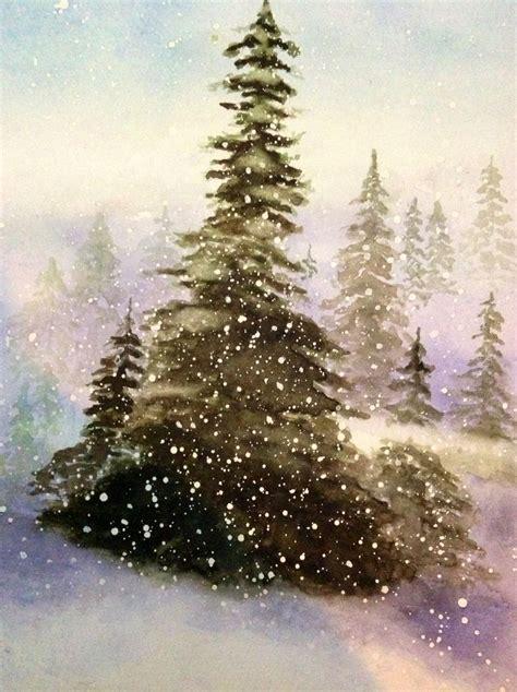watercolor trees snow winter pinterest watercolour