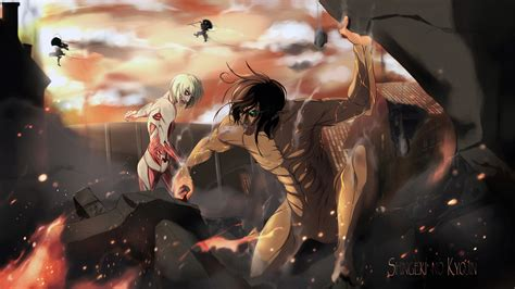 Anime Wallpaper Attack On Titan - eren yeager titan vs leonhart titan hd wallpaper