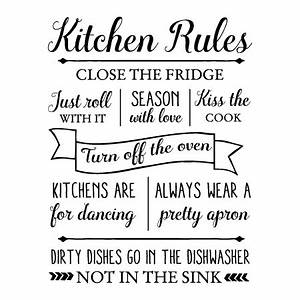 kitchen rules wall quotestm decal wallquotescom With kitchen colors with white cabinets with monster energy stickers free