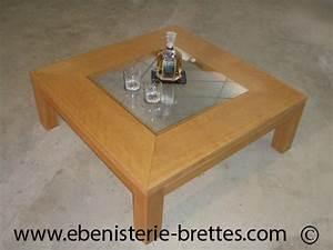 Table Salon Carrée : table basse design en bois de h tre et plateau en verre exp di e clermont ferrand dans le puy ~ Teatrodelosmanantiales.com Idées de Décoration