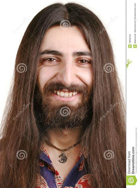 Uomo Sorridente Dai Capelli Lunghi Del Hippie Fotografia