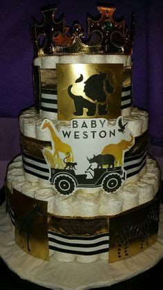 gold safari baby shower gold diaper cake safari diaper