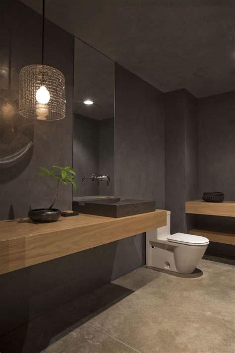 Moderne Badezimmer Holz by Grey Bathroom Design With Mid Toned Wood Homedesignboard
