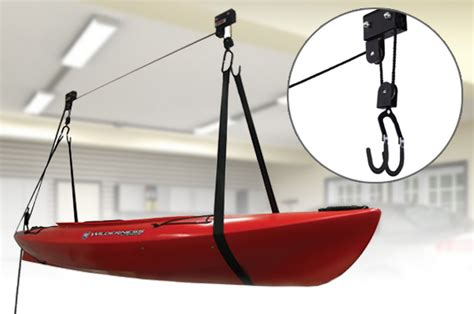 kayak hoist bike lift pulley system garage ceiling storage rack free rope au ebay