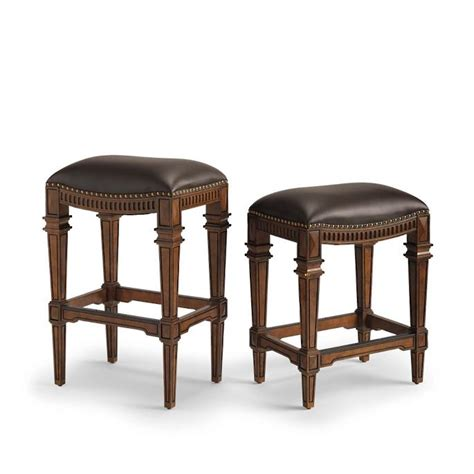 leather backless counter stools linwood backless bar and counter stools frontgate 6884