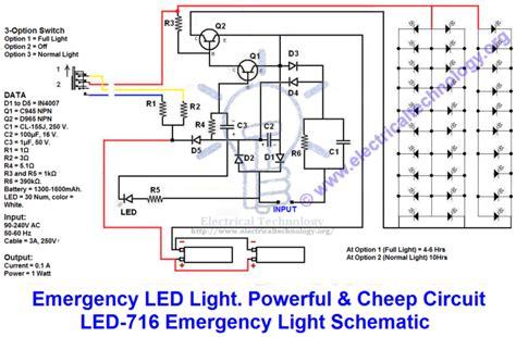 Emergency Lighting Wiring Diagram by Emergency Led Lights Powerful Cheap Led 716 Circuit