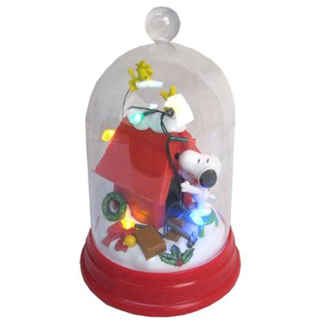 peanuts snoopy decorating light up glass dome statue