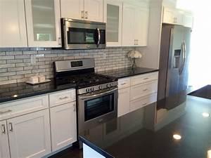 Dark Granite Countertops White Cabinets — Home Ideas