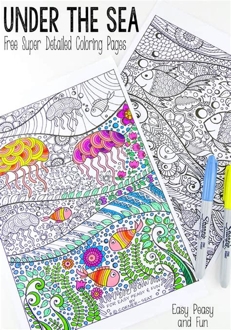sea coloring pages  adults easy peasy  fun