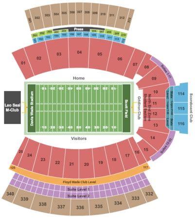 davis wade stadium  scott field   mississippi state mississippi seating charts