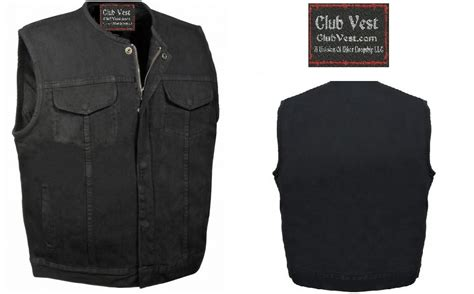 Club Vest Outlaw Black Denim Concealed Carry Motorcycle Mc