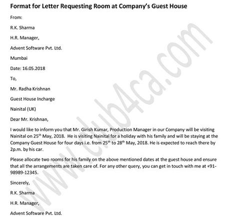 formal letter  request  room  companys guest house