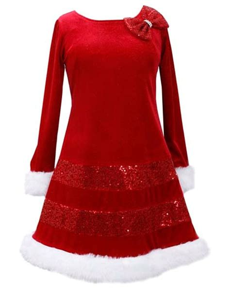 bonnie jean sequin red bow glitter velvet santa christmas