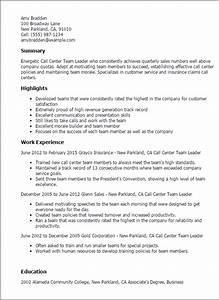 professional call center team leader templates to showcase With leadership resume template