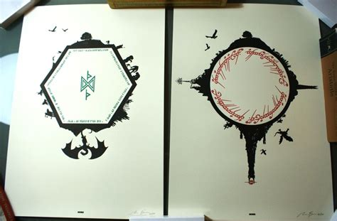 The Hobbit Lord Of The Rings Poster Print Set Letterpress