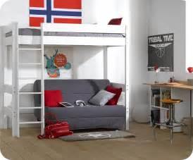 lit mezzanine enfant clay blanc achat vente mobilier bois With tapis chambre bébé avec hauteur standard canapé