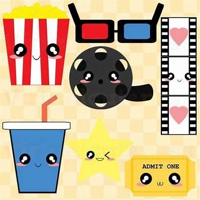 Clip Theater Clipart Popcorn Cinema Theatre Night