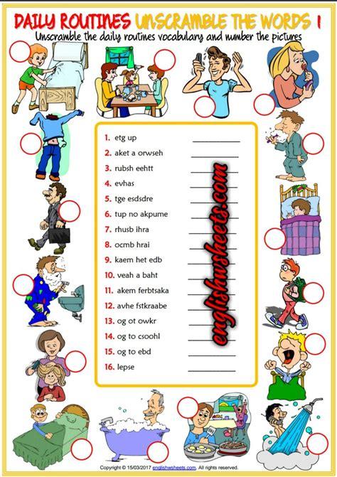 enjoyable unscrambling  words esl printable worksheets