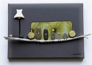 Tableau En Bois Décoration : tableau humoristique avec galet oiseau pour enfant ~ Teatrodelosmanantiales.com Idées de Décoration