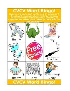 cvcv word bingo  speech activities   chelsea tpt