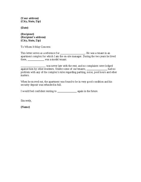 template   renter reference letter   previous