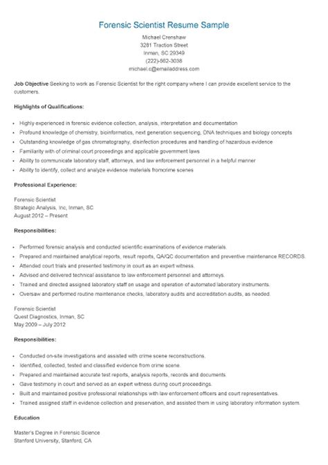 Forensic Science Resume Objective by Resume Sles Forensic Scientist Resume Sle