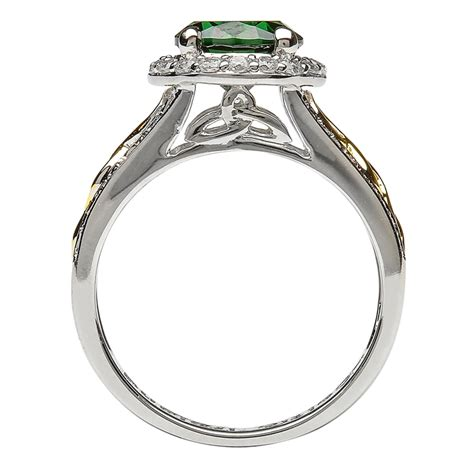 gold and silver ls silver and gold plated green cz halo ring ls sl100grcz