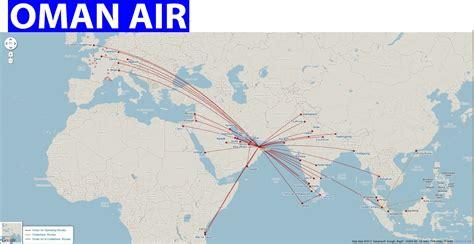 international flights oman air route map