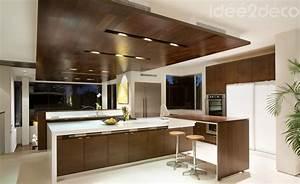 Cuisine Bois Et Blanc : design de grande cuisine bois et blanc cass ~ Dailycaller-alerts.com Idées de Décoration