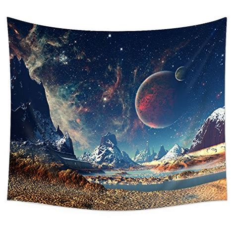 Uphome Wall Tapestry Hanging, Planet with Earth Moon and