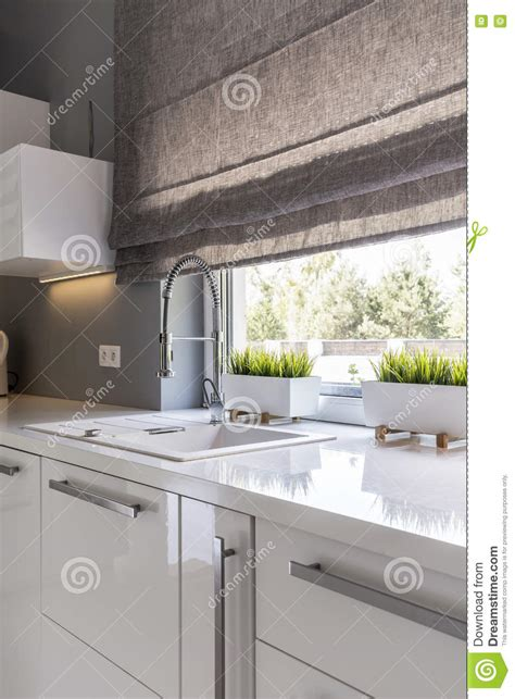 kitchen blinds contemporary kitchen with roller blinds idea stock image image of 5579