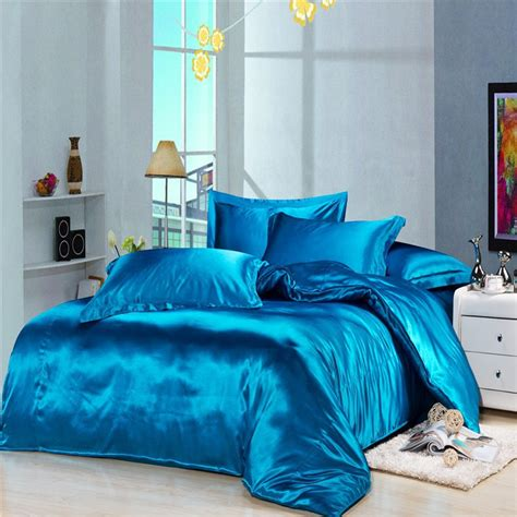 wholesale luxury blue silk satin bedding duvet cover