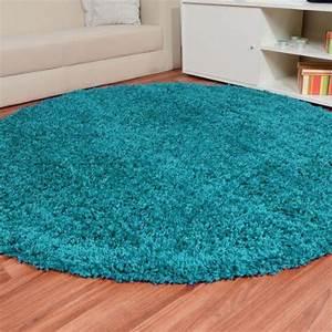 Teppich Rund Türkis : shaggy hochflor teppich fluffy t rkis rund gr e ausw hlen 250 cm rund zilly teppich ~ Frokenaadalensverden.com Haus und Dekorationen