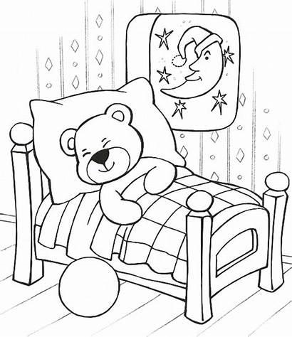 Coloring Teddy Bear Sleeping Pages Printable Bears