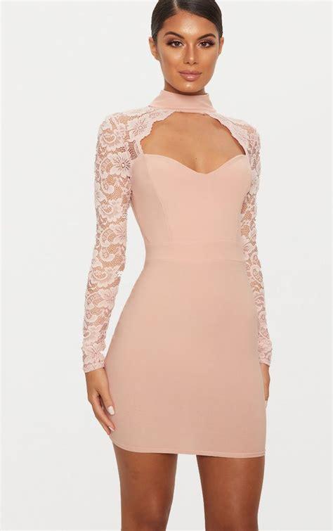 dusty pink lace insert long sleeve bodycon dress
