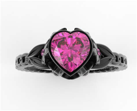 Black Gold Pink Sapphire Heart And Flowers Engagement Ring