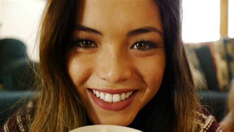 Beautiful Asian Teen Girl Sips Stock Footage Video 100 Royalty Free 5492966 Shutterstock